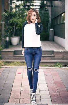 Cool Korean Cute Dresses Korean fashion - black raglan shirt, ripped blue jeans, black high top converses... Check more at http://mydresses.ga/fashion/korean-cute-dresses-korean-fashion-black-raglan-shirt-ripped-blue-jeans-black-high-top-converses/