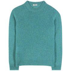 Miu Miu Wool Sweater ($535) ❤ liked on Polyvore featuring tops, sweaters, turquoise, miu miu, miu miu top, miu miu sweater, blue top and woolen sweater