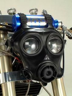 Gas mask head lamp? perhaps shouldn't pin this in motorcycles, but in masks...