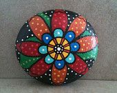 Folk Art Flower Painting Stone / Rock