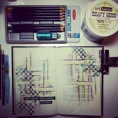 -- Be happy - Art journaling by night -- ** Bądź szczęśliwy - wpis wieczorny ** #journal #artjournaling #journalpage #journaling #journalspread #painting #visualdiary #visualart #Derwent #Inktense #mixedmedia #drawing #stamping #waterbrush #artbasics #Fin   by MaremiArt