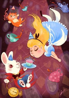 Alice and the White Rabbit - Alice In Wonderland