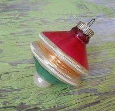 Vintage Shiny Brite UFO Striped Glass Christmas Ornament