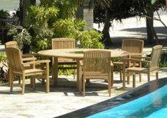 Bermuda - 8  Seater Teak & Granite Round Set