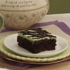 Peppermint Fudge Brownies Recipe -This is a delicious brownie dressed up with creamy peppermint frosting and drizzled with chocolate ganache.