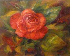 """""""Favored Rose' Oil on canvas, 8"""" x 10"""".The old- fashioned rose has a beautiful radiance and energy!  I love the red and orange tones of this one."""