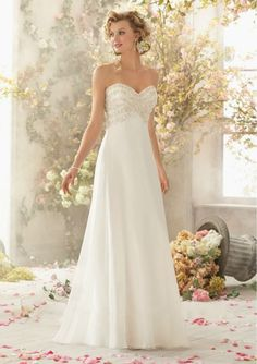 Strapless Ivory Chiffon Beaded Casual A-Line Wedding Dress 2015