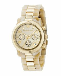 michael kors.Two-Tone Jet Set Watch, Horn/Gold... i need this watch♥