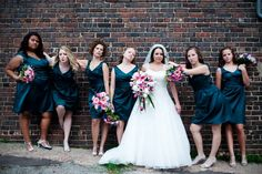 the pose from the movie Bridesmaids recreated for a fun photo of the bridal party :)