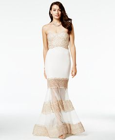 118.99$  Buy here - http://vidin.justgood.pw/vig/item.php?t=dpqy7b40944 - Juniors' Embellished Illusion Trumpet Gown, A Macy's Exclusive 118.99$