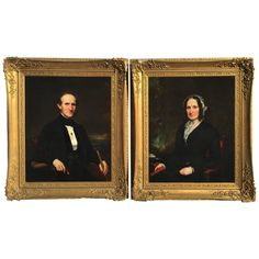 Pair of Mid-19th Century Formal Portraits, American School Possibly Philadelphia - Need ancestors? Here's a great pair...
