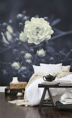 This black-and-white floral wall mural from Bloom Papers is gorgeous in this bedroom setting