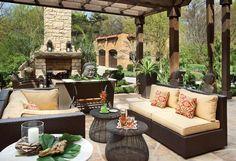 Hacienda-inspired outdoor living #fireplace #patio #pergola #landfare #housetrends