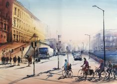 Stefan Gadnell present his watercolors and arts. Street View, Watercolor, Pen And Wash, Watercolor Painting, Watercolour, Watercolors
