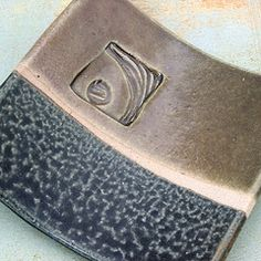 slab plate with a great stamped design and nice glaze combo . . .