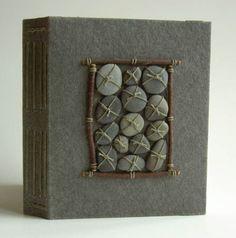 Margo Klass handmade book cover with rocks Handmade Journals, Handmade Books, Handmade Rugs, Handmade Crafts, Altered Books, Altered Art, Book Art, Artist's Book, Book Sculpture