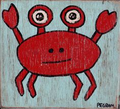 crab painting on wood