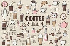Coffee Clipart Graphics Coffee Clipart design pack includes 50 coffee related de - Coffee Icon - Ideas of Coffee Icon - Coffee Clipart Graphics Coffee Clipart design pack includes 50 coffee related designs perfect for prints giftware and patt by clipick Coffee Icon, Coffee Art, Coffee Illustration, Graphic Illustration, Manga Illustration, Coffee Clipart, Coffee Doodle, Coffee Theme, Doodle Icon