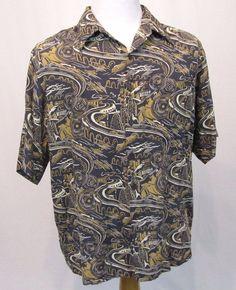 Reyn Spooner Hawaiian Shirt XL Industrial City Hurricane Airplanes Impressionism #ReynSpooner #Hawaiian