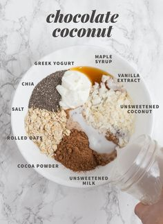 Chocolate Coconut Overnight Oats ⅓ cup plain Greek yogurt ½ cup (heaping) rolled oats ⅔ cup full-fat coconut milk (in the can) 1 tablespoon chia seeds or ground flax meal ½ teaspoon vanilla extract Pinch of salt 0-2 tablespoons honey or maple syrup 2 tablespoons unsweetened cocoa powder ¼ cup unsweetened flaked coconut
