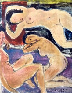 """VU CAO DAM (1908-2000). Les belles endormies ou """"La leçon de Matisse"""". Peinture sur soie contrecollée sur carton encadrée, signée et datée 1942 en bas à droite. Dim. 45x57,5 cm. Diplômé de l'Ecole des… - Art-Valorem - 23/10/2017"""