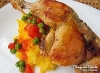 Coxas de Frango marinado com Abacaxi, para ver a receita, clique na imagem para ir ao Manga com Pimenta.