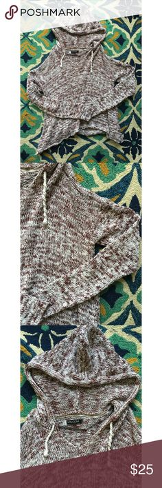 Volcom Knit Hoodie This knit is mixed white and maroon in color. Fun drawstrings and a hoodie make this relaxed and laid back yet fun in style. EUC Size: L Volcom Sweaters
