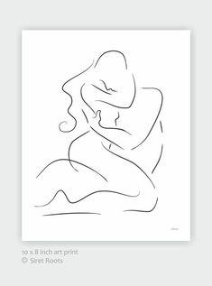 Erotic embrace art print. Sensual lovers sketch for bedroom decor.