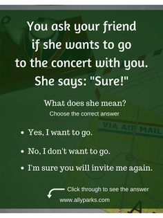English Expressions and Phrases in real life situations. http://www.allyparks.com/english-blog/sure Define sure, sure meaning, English expressions, ESL, English speaking, speaking English, English conversation, spoken English, esl, efl, English, Inglês, inglés, английский язык, ingles, английские