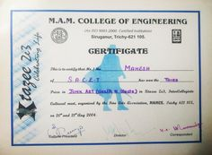 My Intercollege Competition Certificate