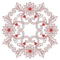 Redwork Poinsettia Circle embroidery design - Google Search