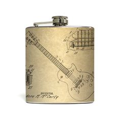 Gift your favorite musician this stylish flask. Showcasing a unique line drawing of a guitar and its parts, this flask is a must-have for technical...