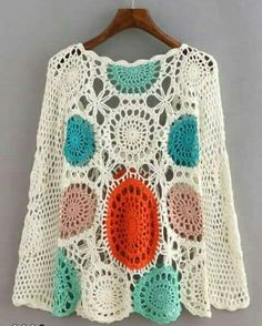 Store Multicolor Lengthy Sleeve Scoop Neck Crochet Sweater on-line. SheIn provides Multicolor Lengthy Sleeve Scoop Neck Crochet Sweater & extra to suit your modern wants. Poncho Crochet, Col Crochet, Crochet Woman, Crochet Cardigan, Crochet Granny, Crochet Clothes, Pulls, Crochet Projects, Crochet Patterns