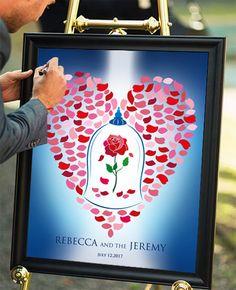 Blue And Gold Beauty Beast Wedding Guest Book Alternative Rustic Sign Ready To Hang Lovebirdslanewedding