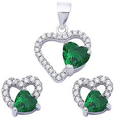 Green Created Emerald  Cz Heart 925 Sterling Silver Earring  Pendant Jewelry Set ** You can find more details by visiting the image link.