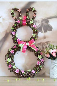 """Jarní dekorace """"Ušáček"""" na objednání / Zboží prodejce Coolnička   Fler.cz Easter Crafts, Grapevine Wreath, Easter Bunny, Floral Wreath, Jar, Wreaths, Homemade, Spring, Cakepops"""