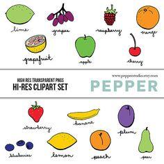 INSTANT DOWNLOAD  Bright Fruit Clipart Set  Hi Res by PepperStudio