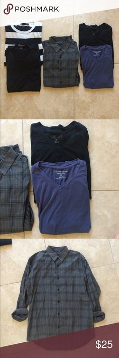 Men's designer shirt bundle Only selling these as a bundle. Comes with two v neck t shirts from Bloomingdales, one Theory gray and black plaid button down shirt, one French connection black and white striped long sleeve t shirt, and one Michael Kors black pocket t shirt. The theory and Michael Kors are size small, the other three are size medium. I wear a Small/medium and they all fit me great. No holes or stains but do have some light wash wear. Theory shirt has slight fading at collar…
