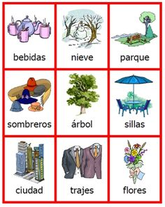 mix of masculine & feminine, singular & plural Spanish nouns -- part of the FREE printable game on articles from PrintableSpanish.com
