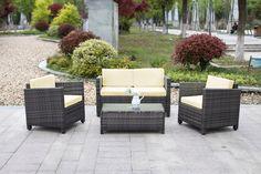Only US$238.99, iKayaa 4PCS Rattan Wicker Outdoor Patio Sofa Set Gray - LovDock.com