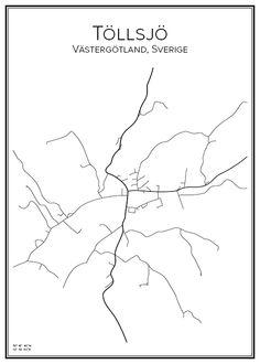 Töllsjö. Västergötland. Sverige. Karta. City print. Print. Affisch. Tavla. Tryck.
