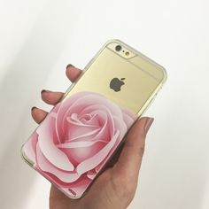 """Clear Plastic Case Cover for iPhone 6Plus (5.5"""") Pink Rose"""