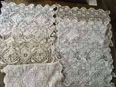 Vintage Antique Handmade Crocheted Runner Placemats Set Lot of 9 Pieces Ecru | eBay