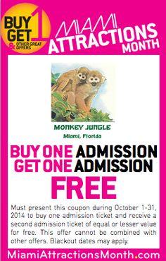 #Coupon for #MonkeyJungle #MiamiAttractions #BuyOneGetOneFree