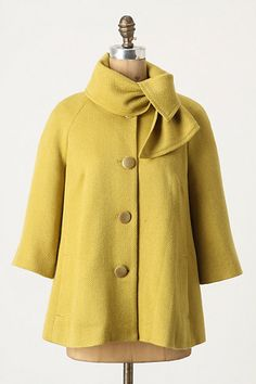 You can never have too many jackets! Adore this Anthropologie Ascot Swing Coat! Yellow Coat, Mellow Yellow, Mustard Yellow, Vogue, Vestidos Pin Up, Cute Coats, Swing Coats, Estilo Fashion, Fall Jackets
