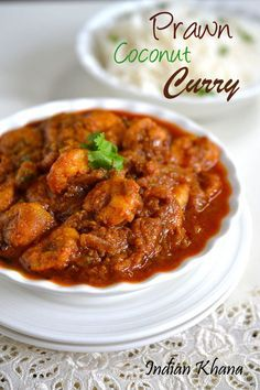 Prawn Coconut Curry or Prawn masala with coconut is easy, delicious and spicy prawns curry. Prawn is something that is very regular at hom. Veg Recipes, Spicy Recipes, Curry Recipes, Seafood Recipes, Asian Recipes, Cooking Recipes, Recipies, Prawn Coconut Curry, Prawn Curry