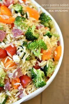 Orzo Pasta Salad - with salami, broccoli, bell peppers, cherry tomatoes, and Italian dressing