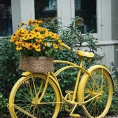 Yellow Bike with flowers