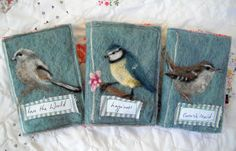 felting inspiration - (these are needlecases) birds - by artist Lou Tonkin -
