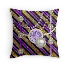#FauxGlitter&Jewels #Purple&GoldTones #ThrowPillow by #MoonDreamsMusic #FauxGlitter #FauxJewels